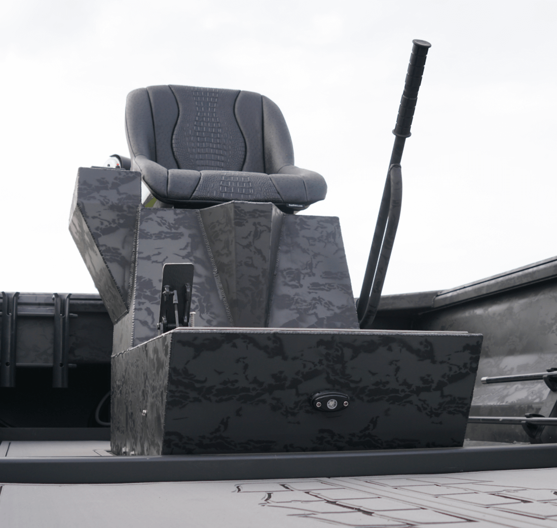 Image of boat seat with stick steer attachment